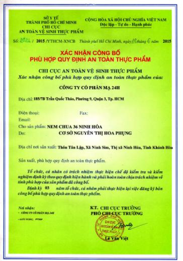 Giấy xác nhận công bố chất lượng nem chua Ninh Hòa