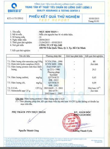 Giấy xét nghiệm sản phẩm mực rim Nha Trang